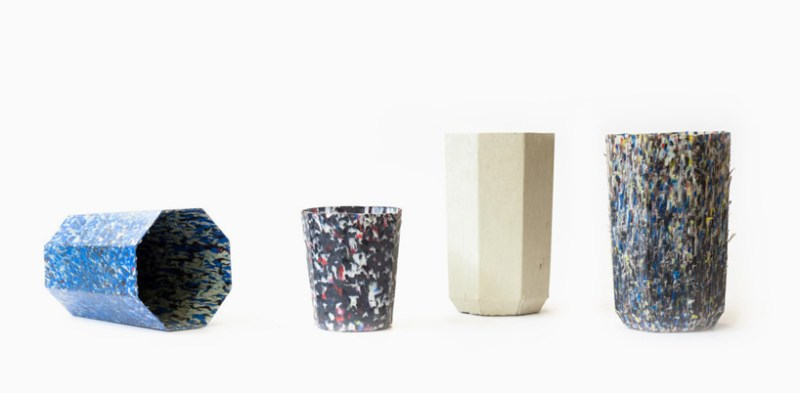 Vases made of recycled plastic