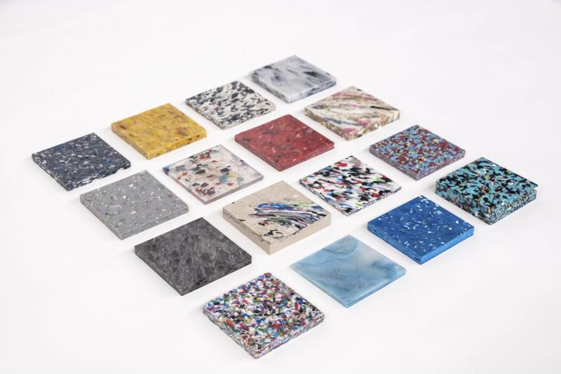 Colorful plastic recycled tiles with different patterns