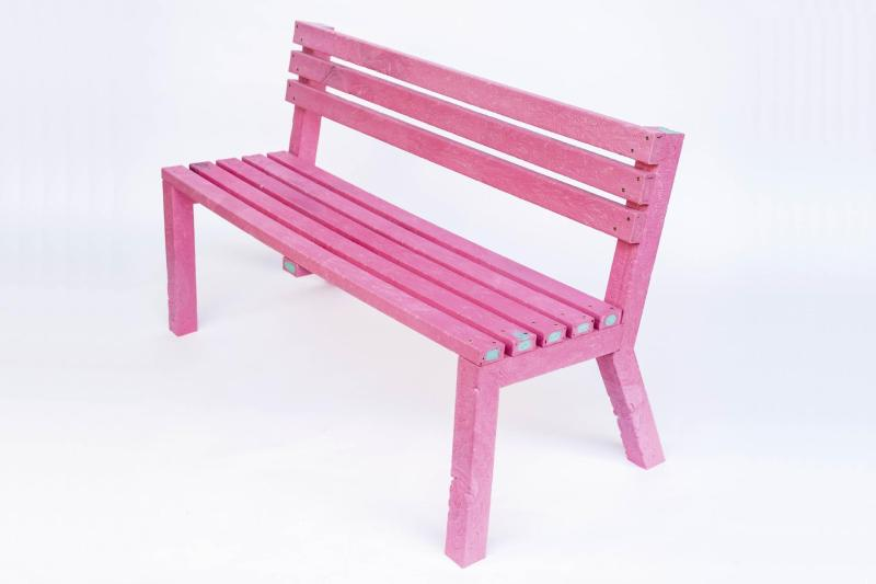 pink bench made of recycled polypropylene