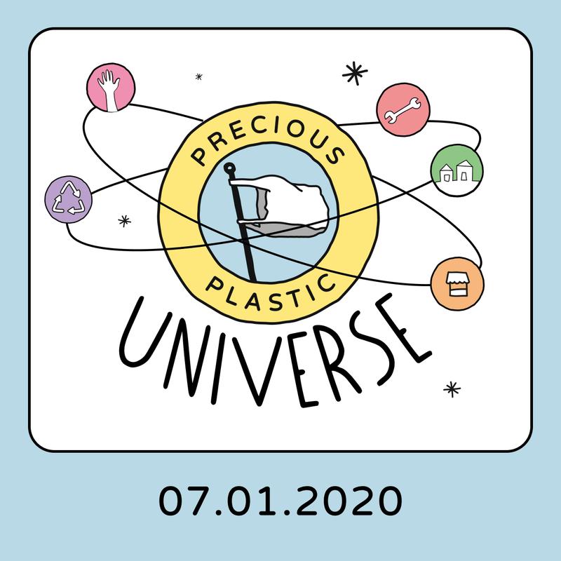 Precious Plastic Universe drawing representing one atom.