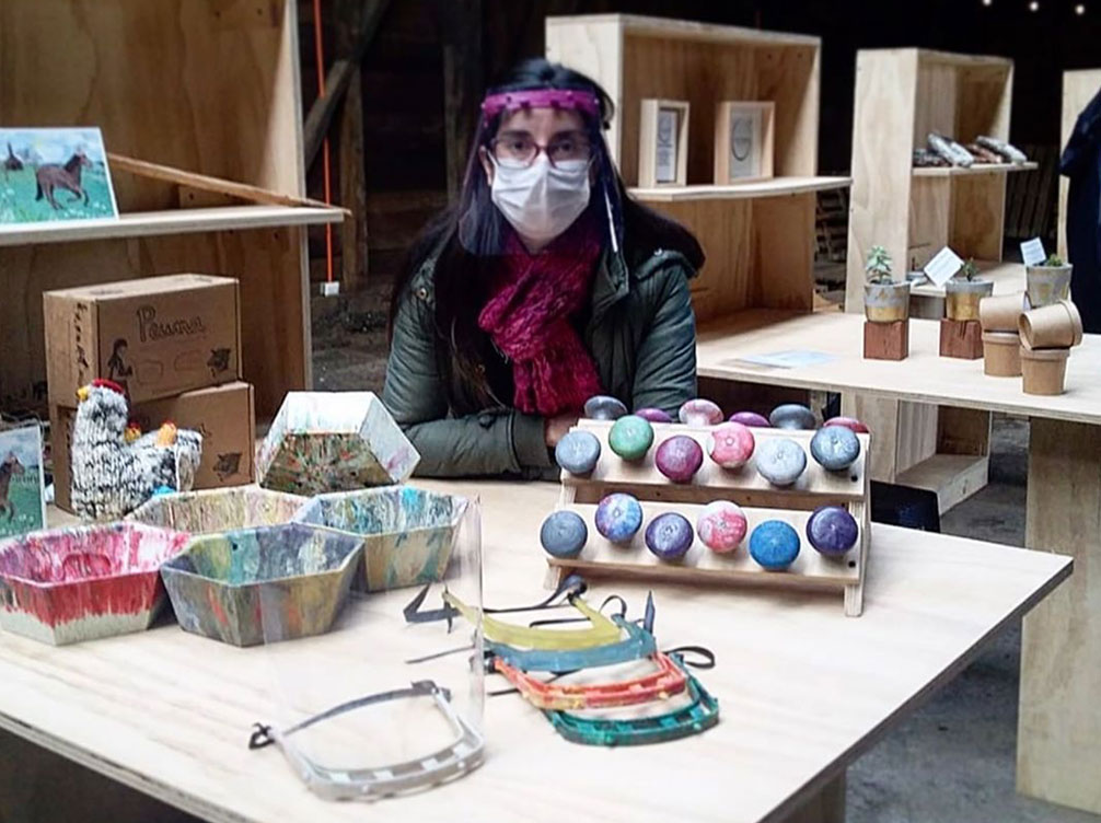 Woman Selling Face Visors in Chile
