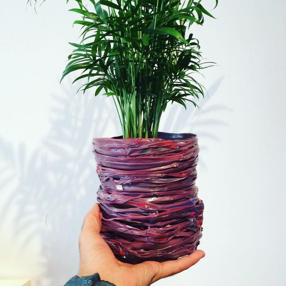 plastic recycled flowerpot