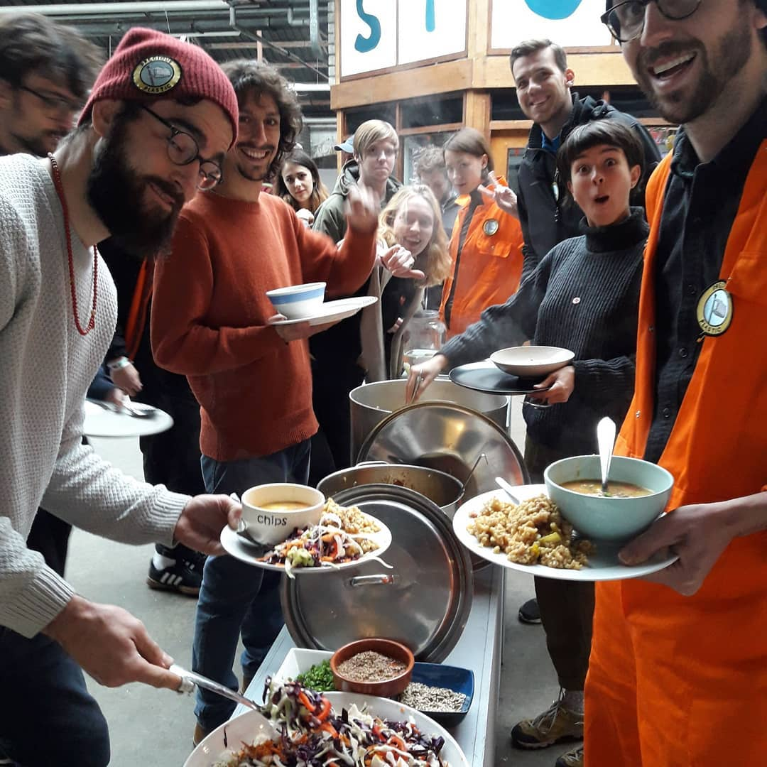Group of people serving food