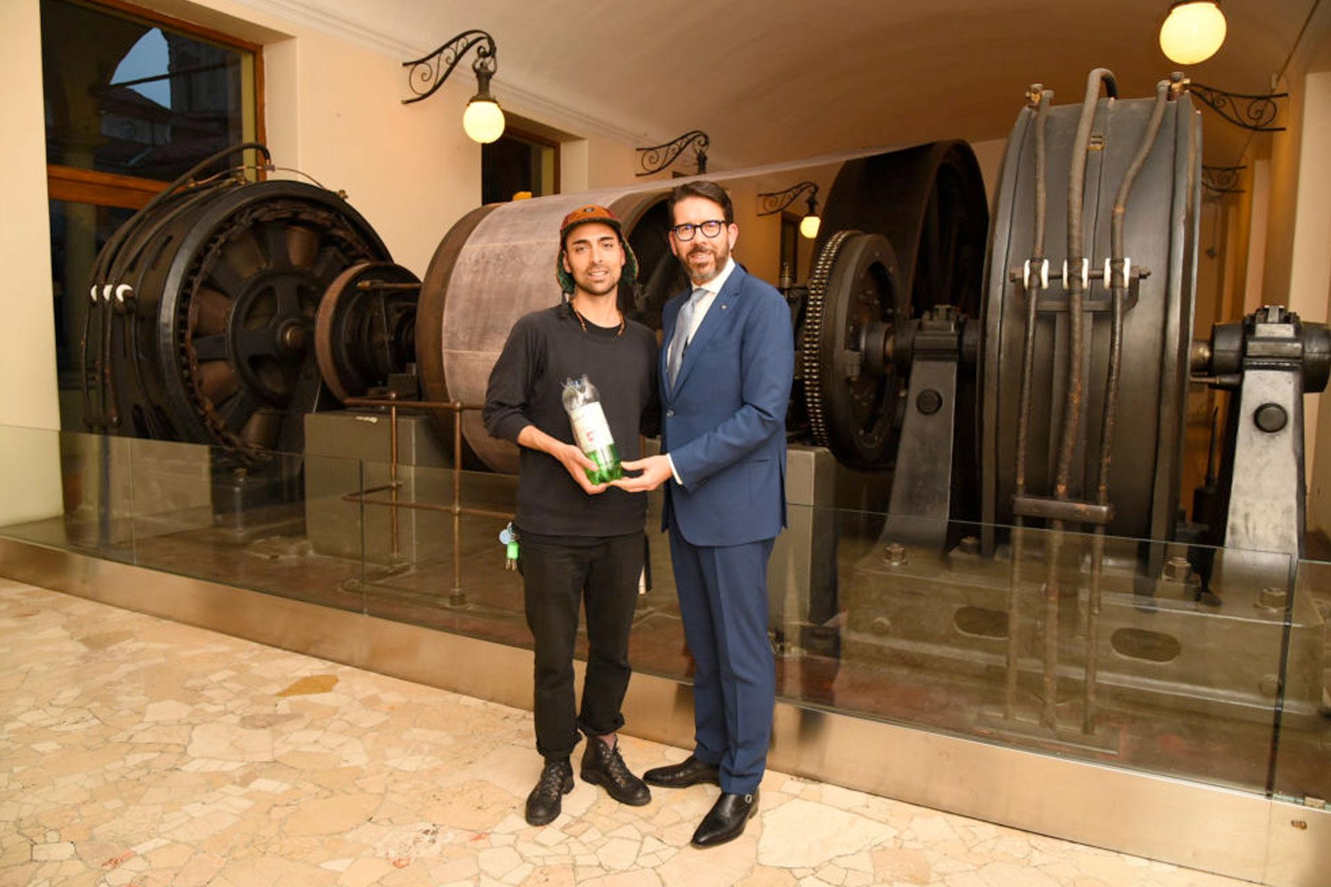 Mattia with an award