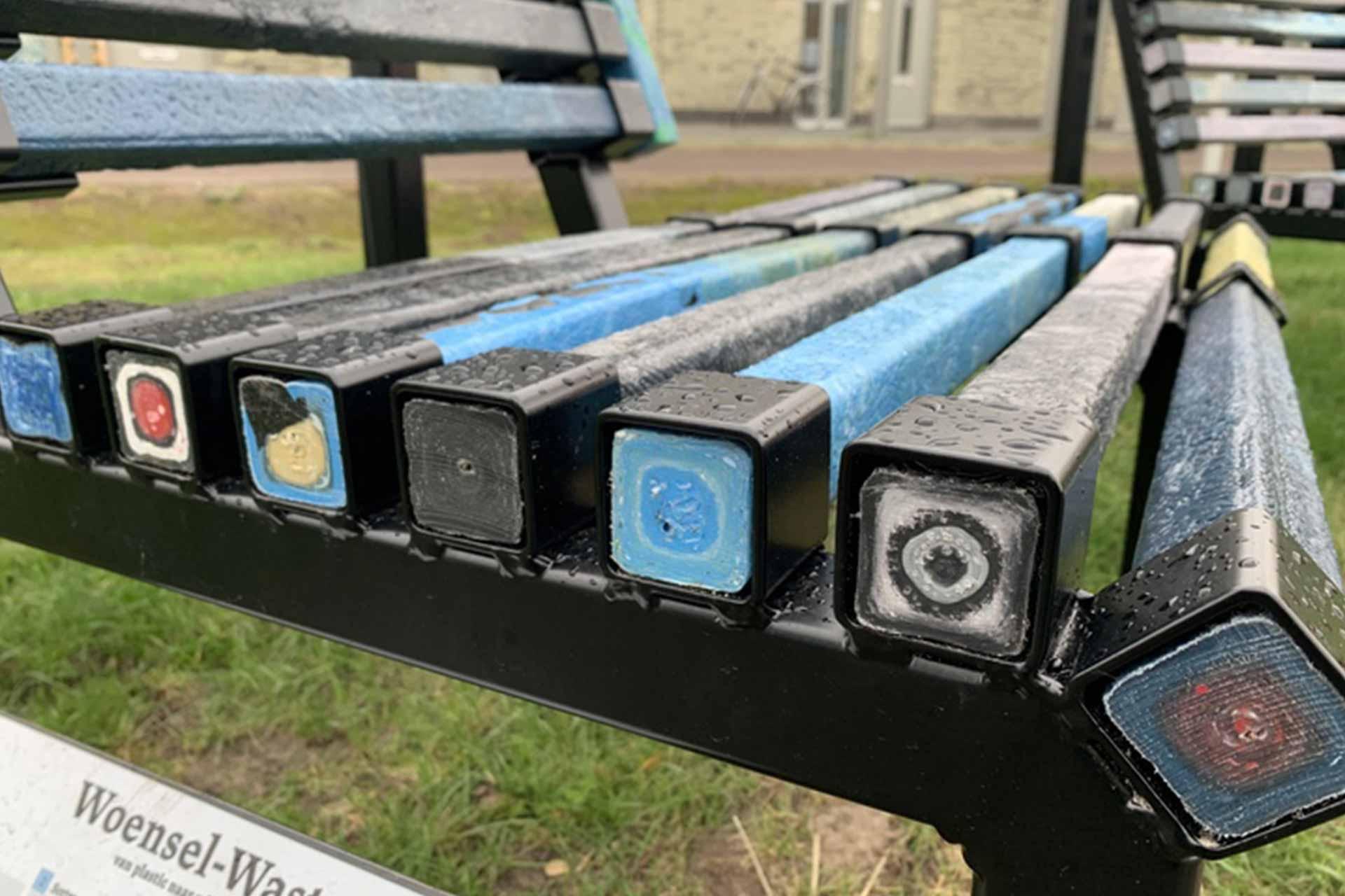 Recycled beams close up.
