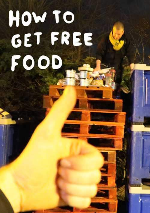 How to get free food poster with people jumping out of a dumpster full of food.