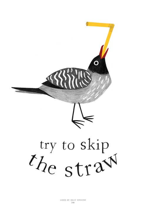 "Poster with a bird eating a plastic straw and the title ""Skip the straw"""