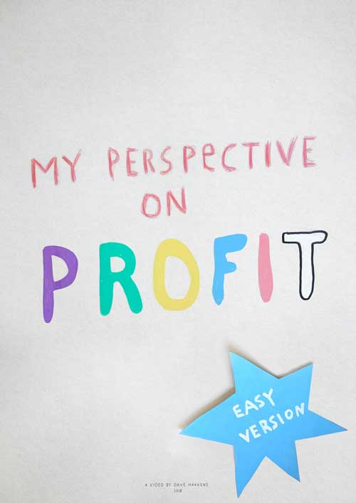 "Handwritten and papercut poster saying ""My perspective on profit"""
