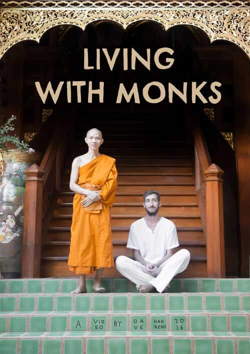 Man and a monk on stairs