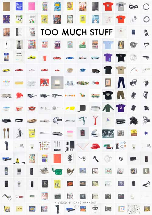 Poster with many objects displayed on a grid