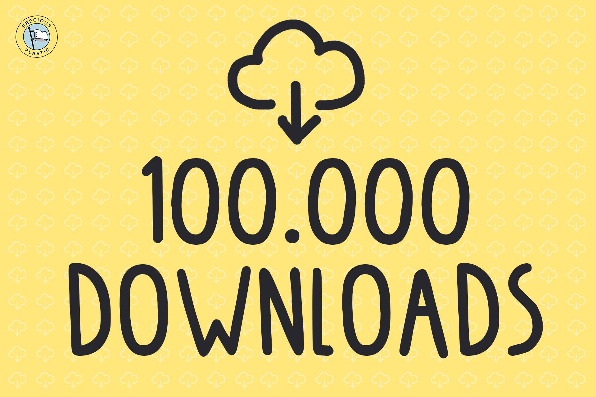 yellow illustration with download icon and the number 100.000