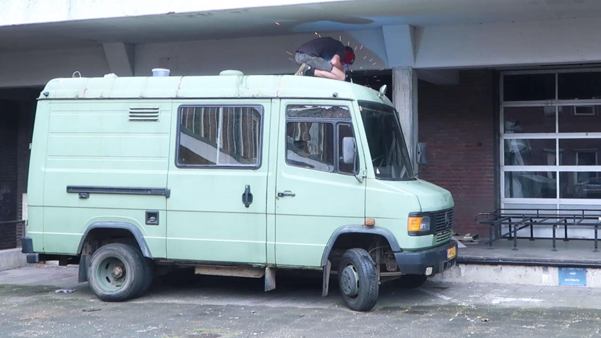 man converting a van