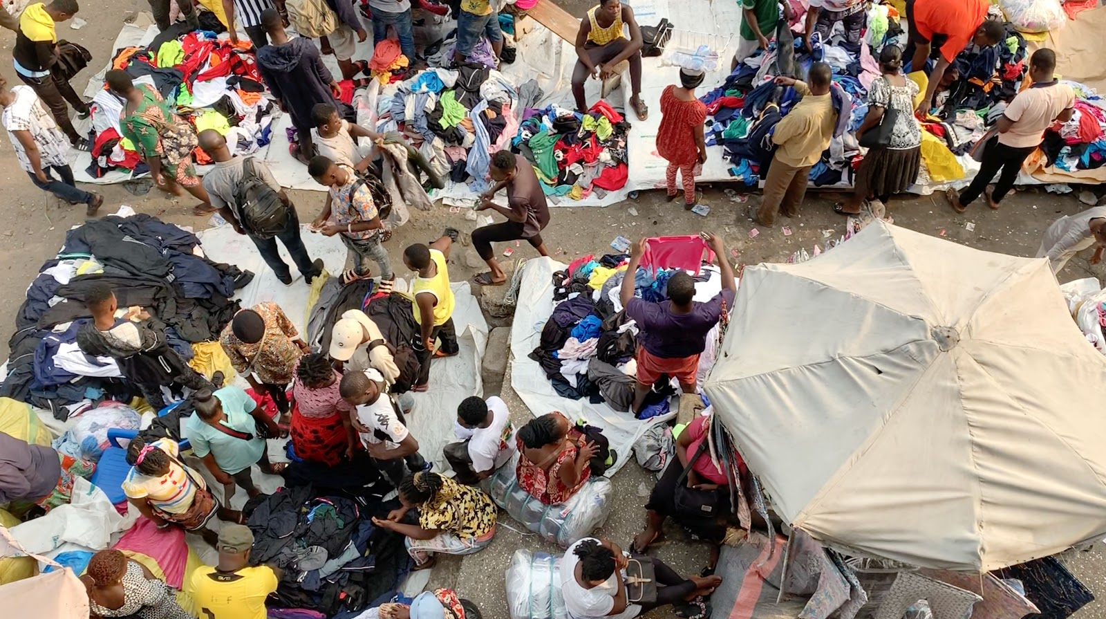 Local market in Accra, Ghana where our second hand clothes are dumped/sold