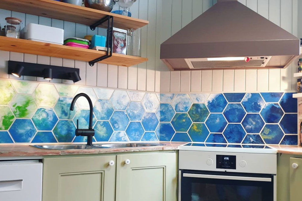 Precious Plastic recycled kitchen wall