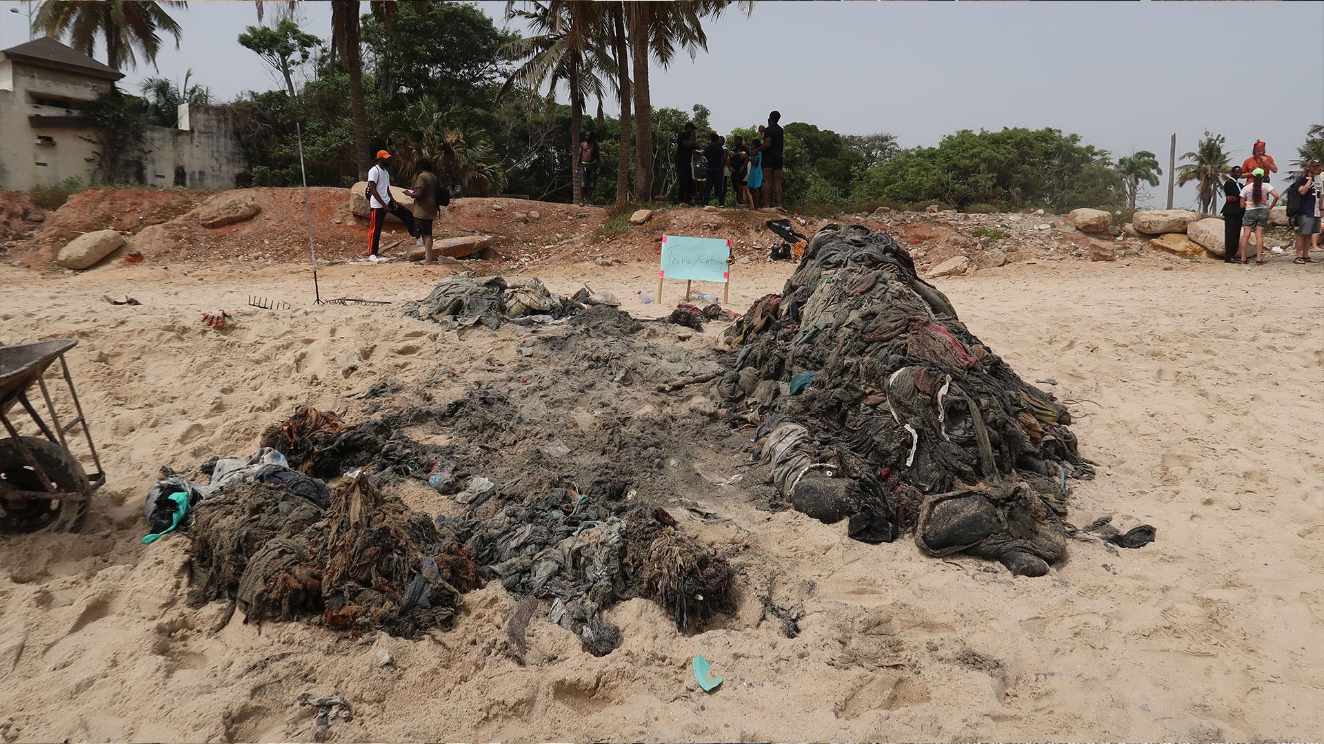Textile waste on Ghana beach