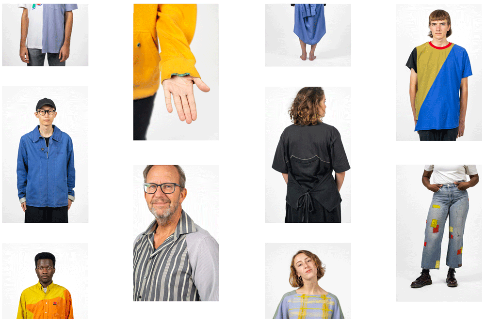 collage of many models wearing fixed clothes