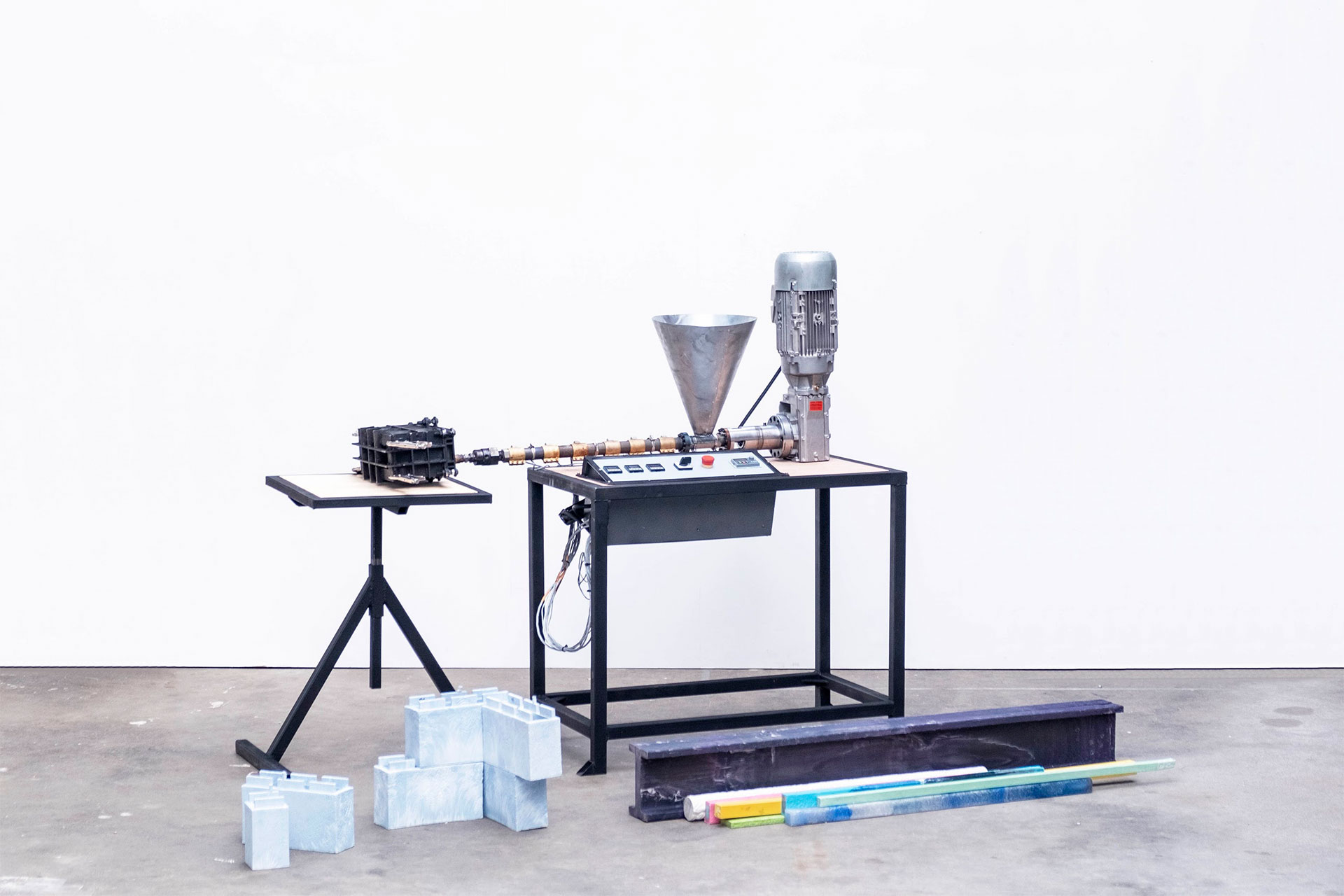 Extrusion machine on white background
