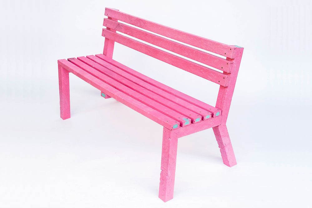 A bench made with beams