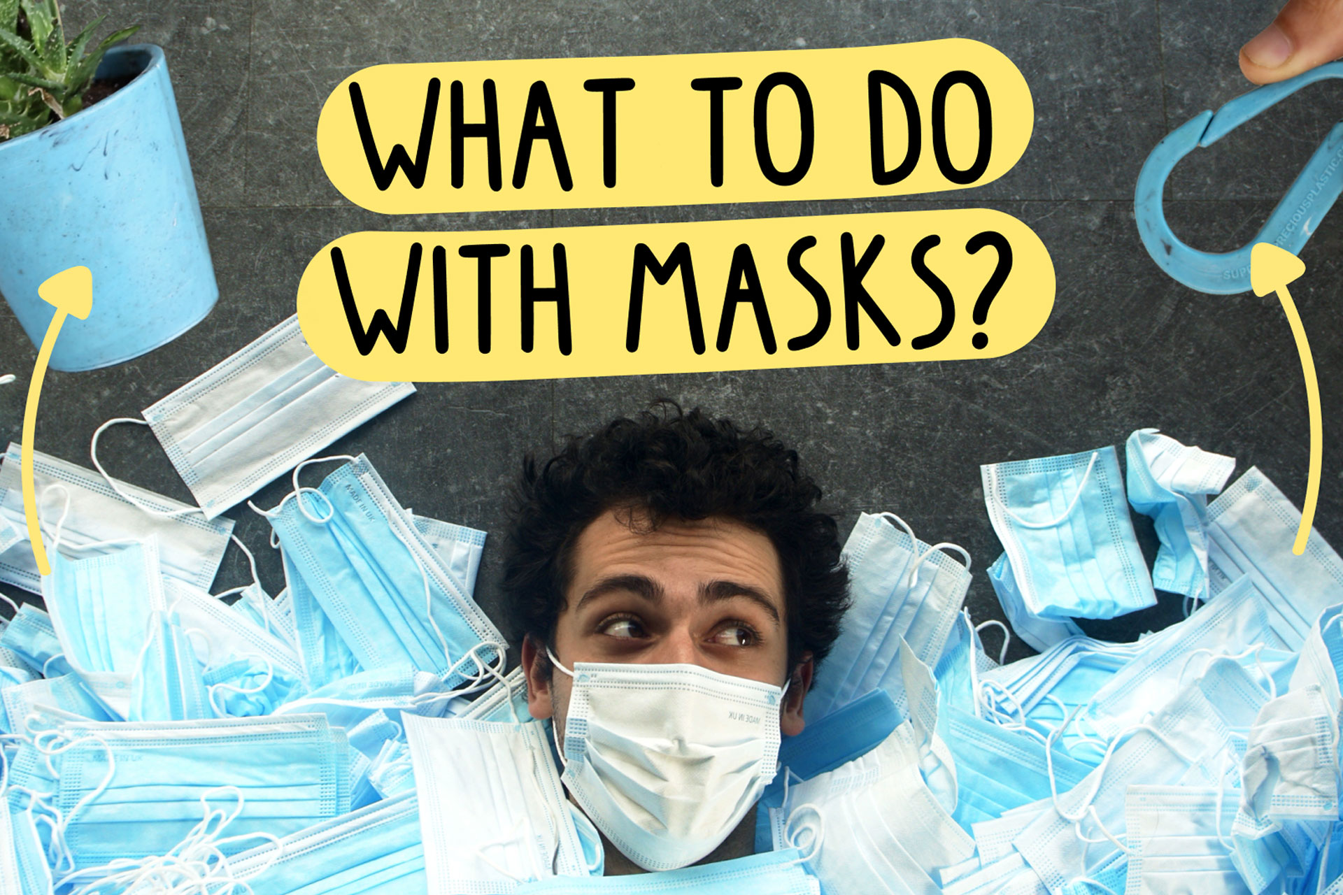 Man covered in facemasks