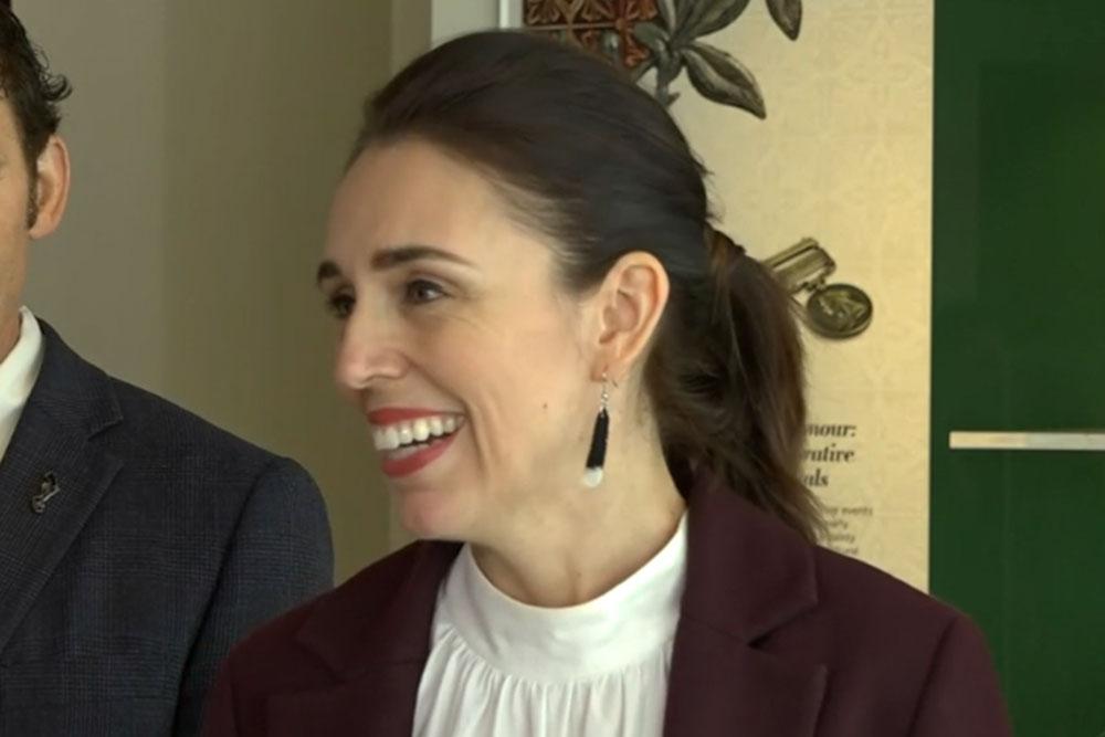 Jacinda Ardern wearing Precious Plastic earrings