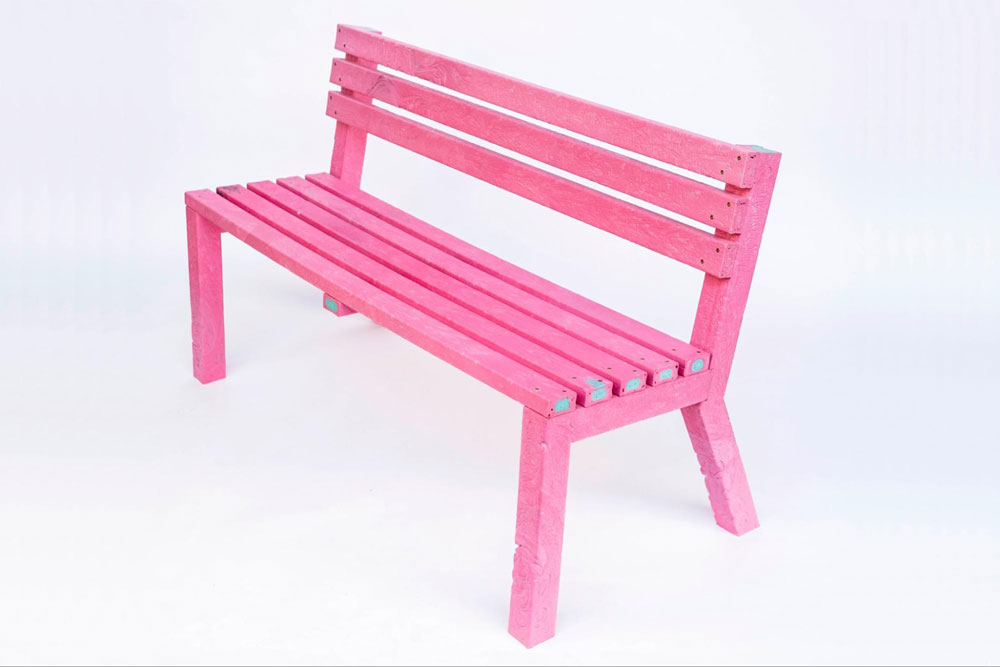 pink bench from recycled palstic