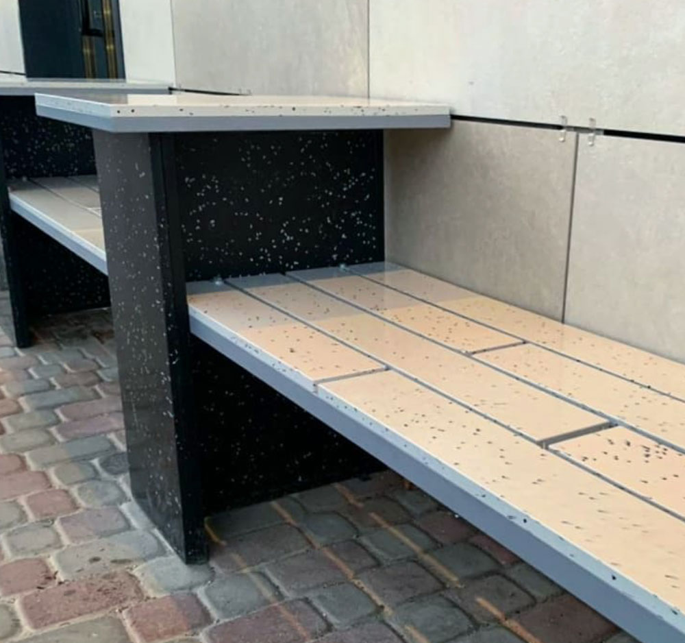 Bench from recycled plastic