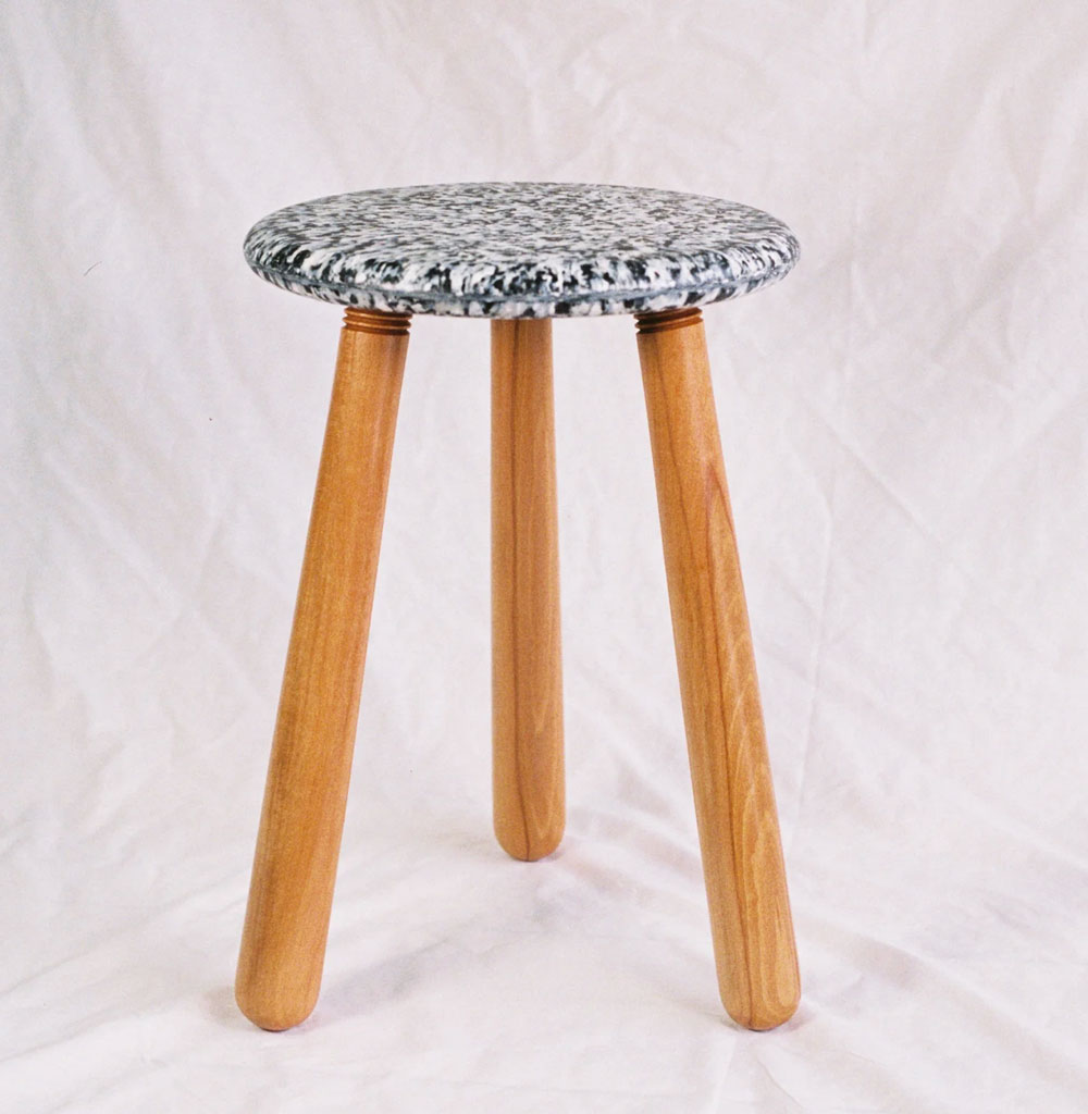 stool from recycled plastic and wood