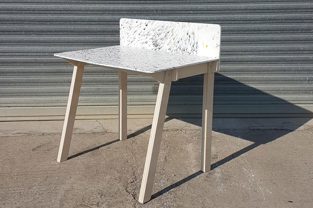 Desk from recycled plastic