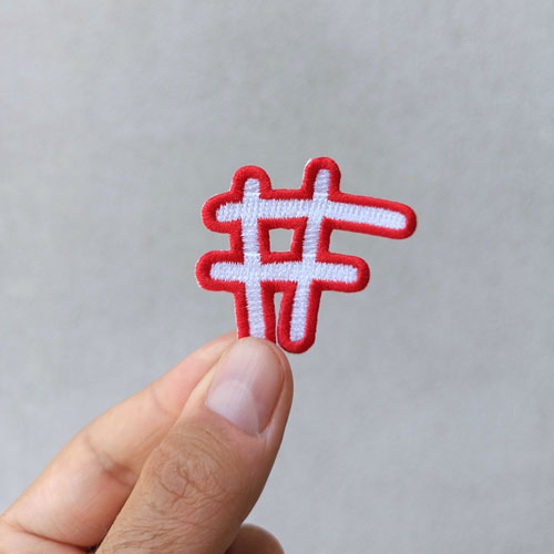 Fixing Fashion badge in the shape of a hashtag