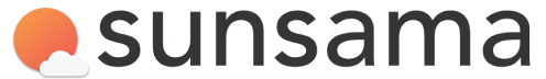 Sunsama Logo: An orange sun with it's bottom right corner occluded by a cloud, followed by the word Sunsama to the right.