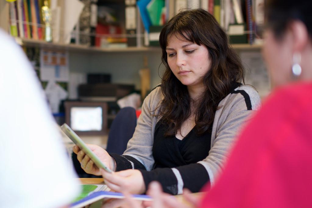 Female teacher having a meeting