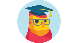 Cute bird vector wearing a graduation hat and glasses