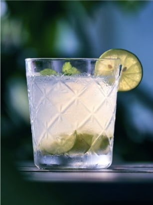 cocktail with lime garnish