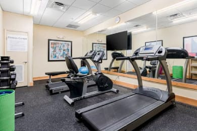Gym with treadmills