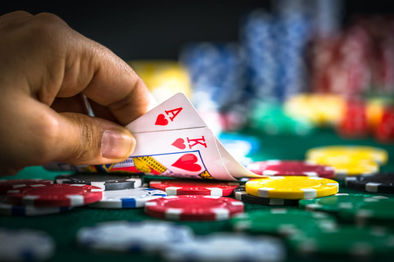 Hands playing blackjack
