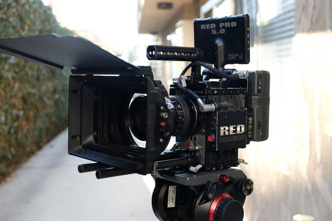RED Scarlet-W 5K fully kitted out on a tripod