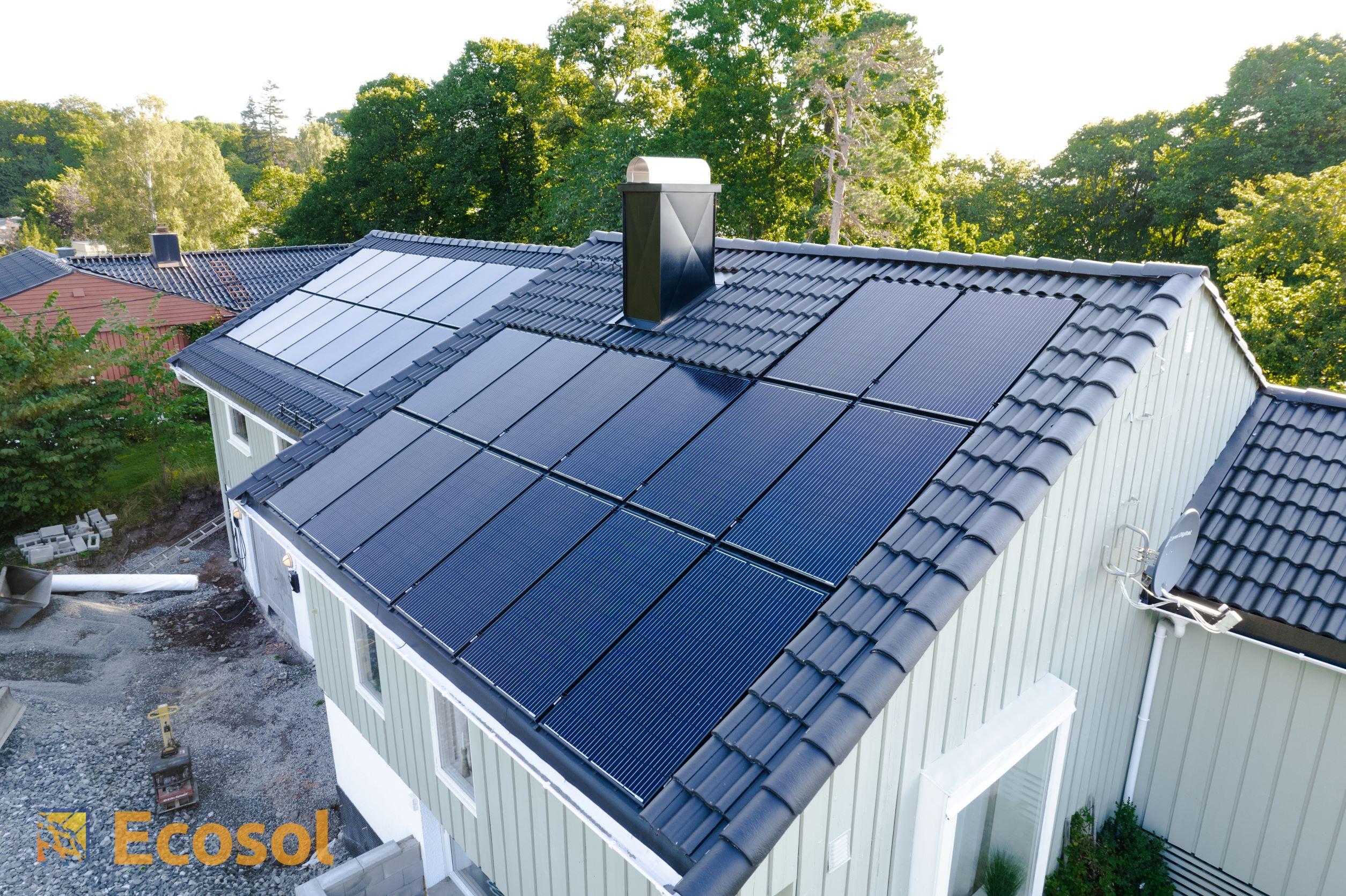 Integrerte solcellepaneler.