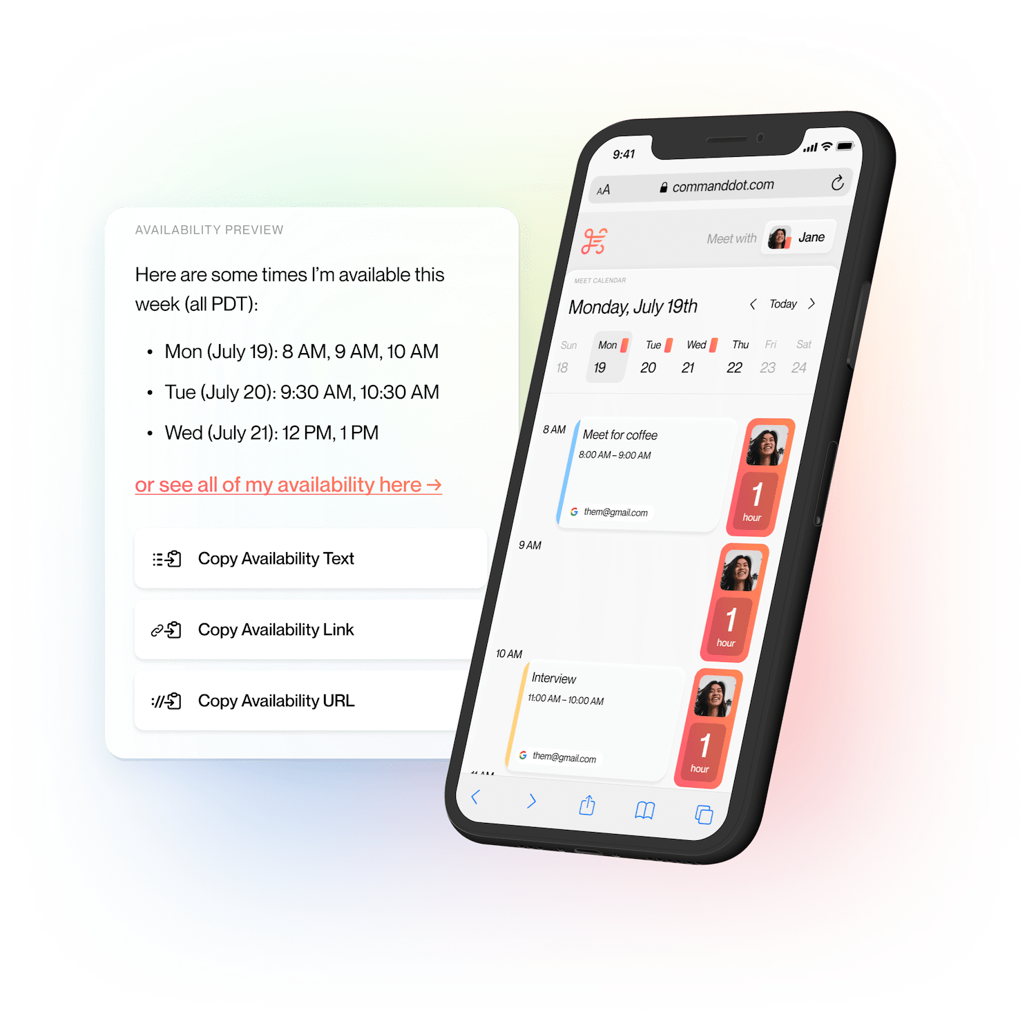 CommandDot showing Availability with Scheduling UI on phone