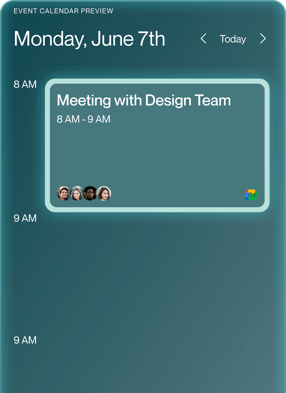 CommandDot showing created event on calendar