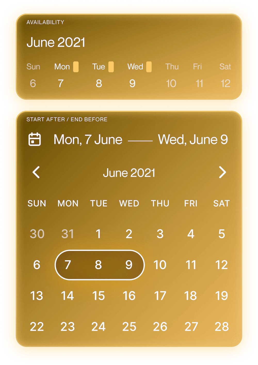 CommandDot showing 3 days selected on calendar