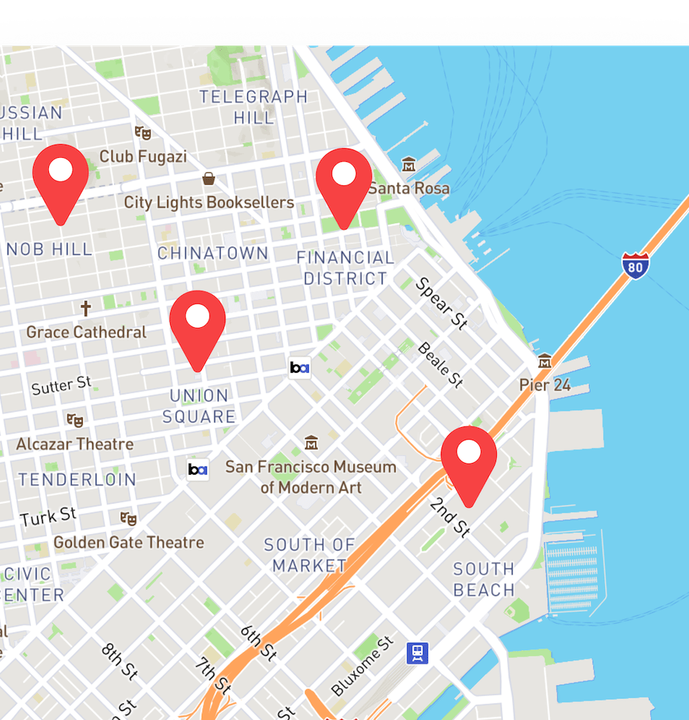 Map UI with location pins