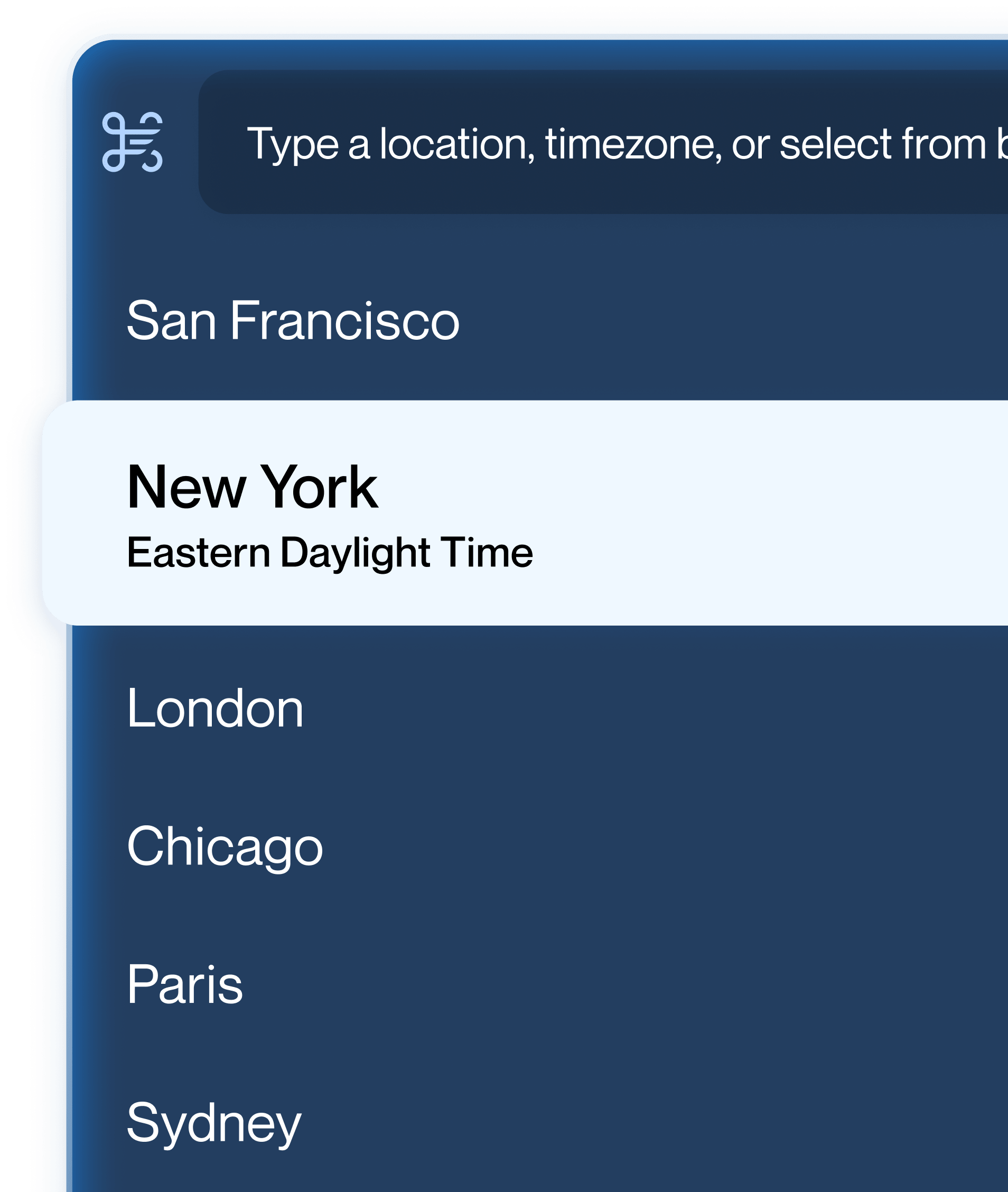 Showing Timezone selection in CommandDot