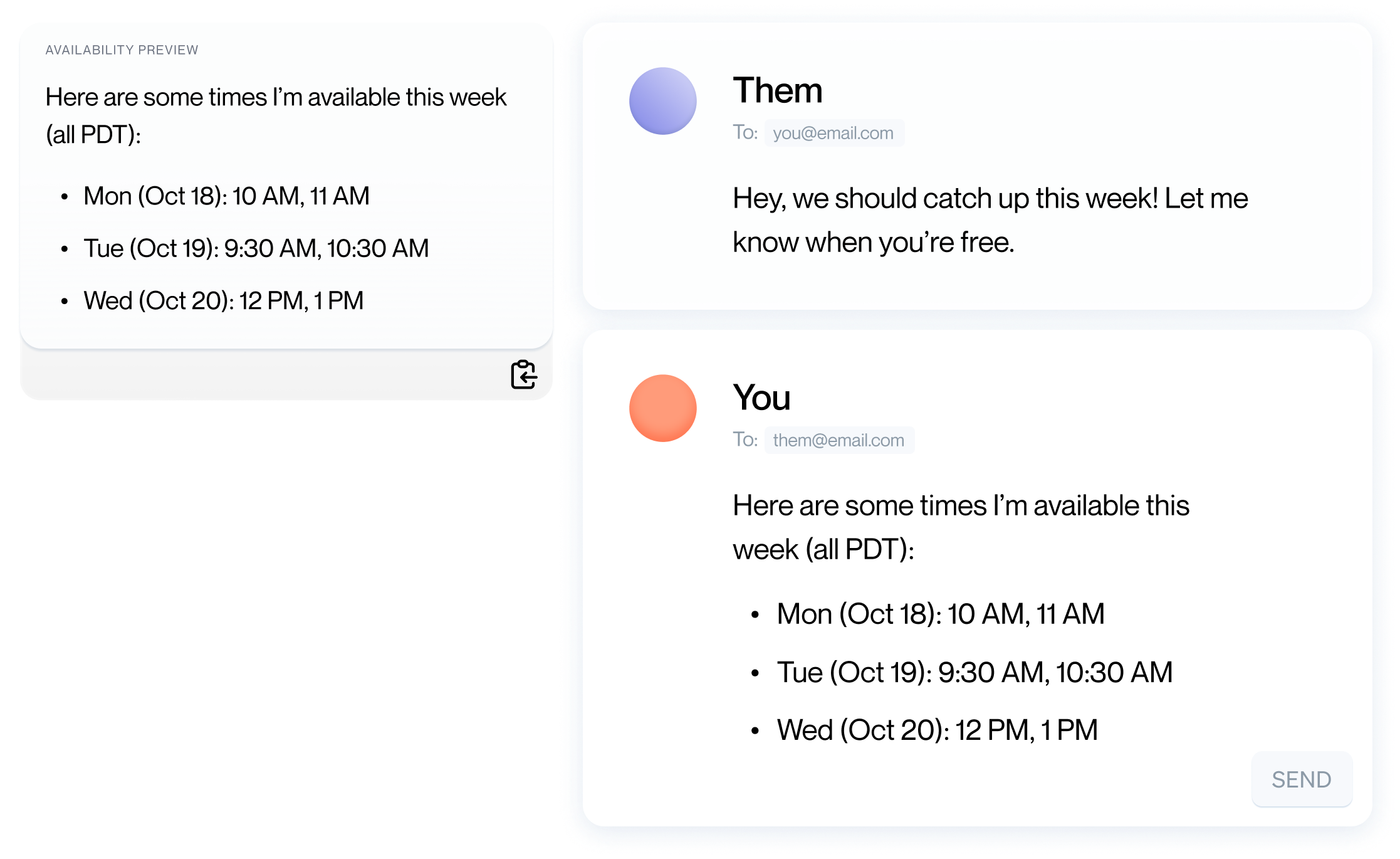 CommandDot with email conversation