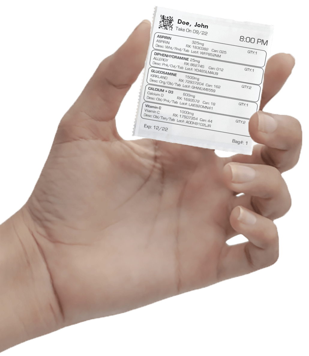 Hand holding a personalized  medication pack called SyncRx from Gibson Pharmacy