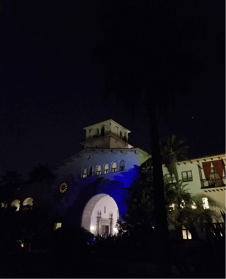 Santa Barbara  Courthouse lit up with blue lights