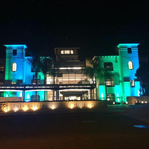 Sansum Clinic lit up