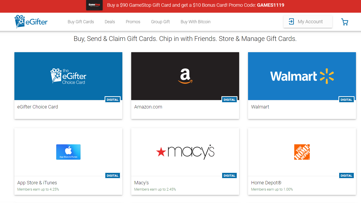 Gift cards selection that can be purchased with crypto are shown on the homepage of a website