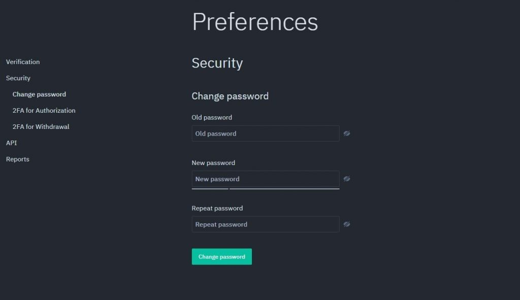 Exscudo Exchange security page, Preferences