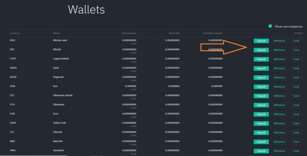 Exscudo Exchange wallets page