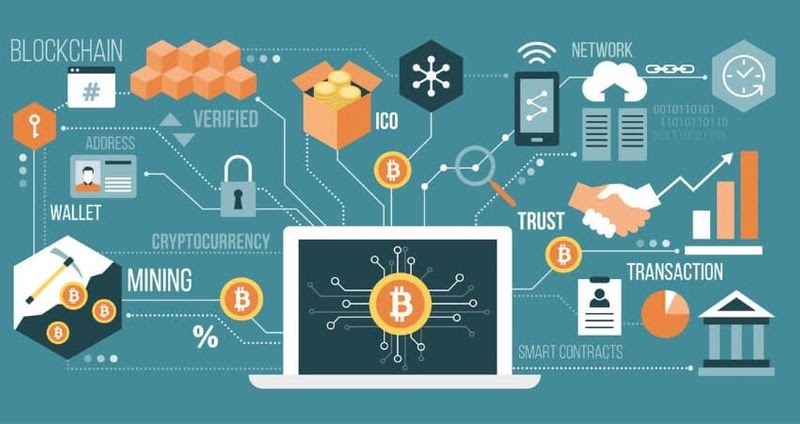 Different ways of using crypto from mining to transactions are shown on the diagram